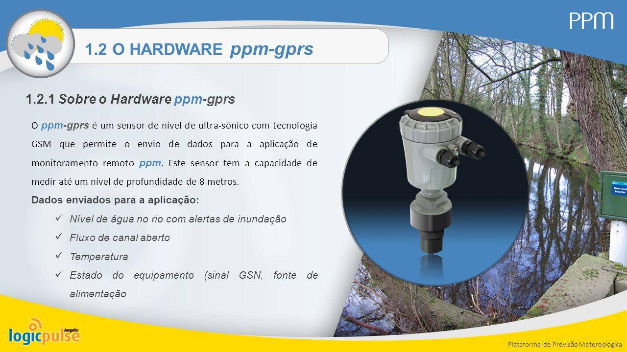 1.2 O HARDWARE ppm-gprs Plataforma de Previsão Metereológica 1.2.1 Sobre o Hardware ppm-gprs O ppm-gprs é um sensor de nível de ultra-sônico com tecno