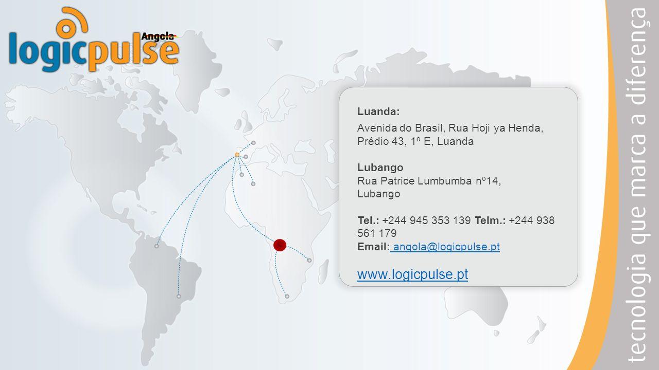 Luanda: Avenida do Brasil, Rua Hoji ya Henda, Prédio 43, 1º E, Luanda Lubango Rua Patrice Lumbumba nº14, Lubango Tel.: +244 945 353 139 Telm.: +244 93