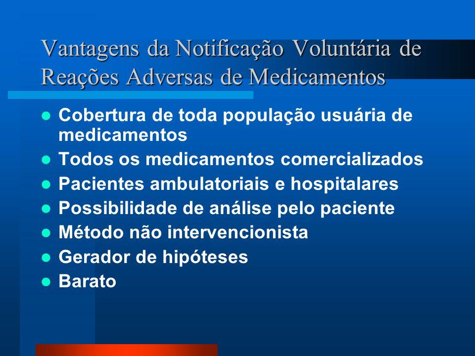 Vantagens da Notificação Voluntária de Reações Adversas de Medicamentos Cobertura de toda população usuária de medicamentos Todos os medicamentos come