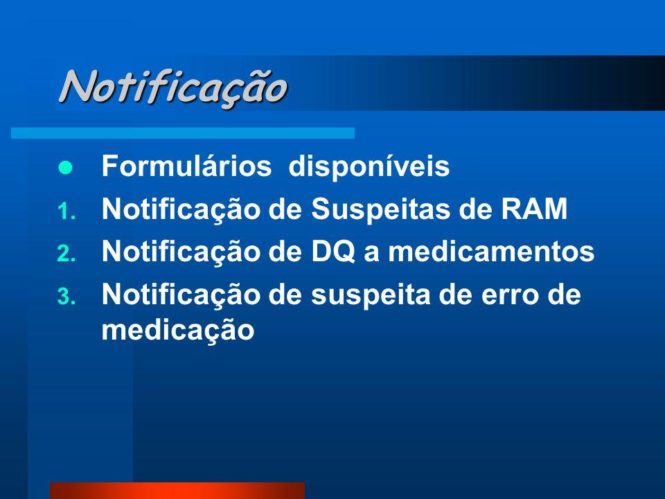 Notificação Formulários disponíveis 1. Notificação de Suspeitas de RAM 2. Notificação de DQ a medicamentos 3. Notificação de suspeita de erro de medic