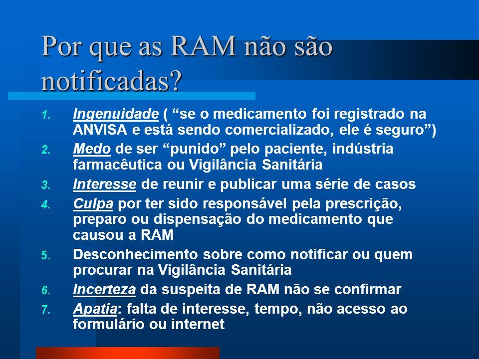 Por que as RAM não são notificadas? 1. Ingenuidade ( se o medicamento foi registrado na ANVISA e está sendo comercializado, ele é seguro) 2. Medo de s