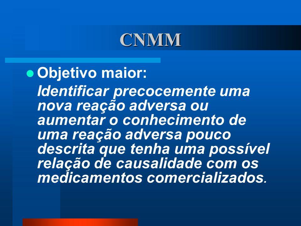 CNMM Objetivo maior: Identificar precocemente uma nova reação adversa ou aumentar o conhecimento de uma reação adversa pouco descrita que tenha uma po