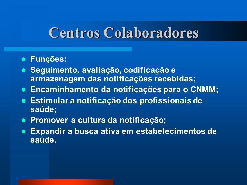 Centros Colaboradores Funções: Seguimento, avaliação, codificação e armazenagem das notificações recebidas; Encaminhamento da notificações para o CNMM
