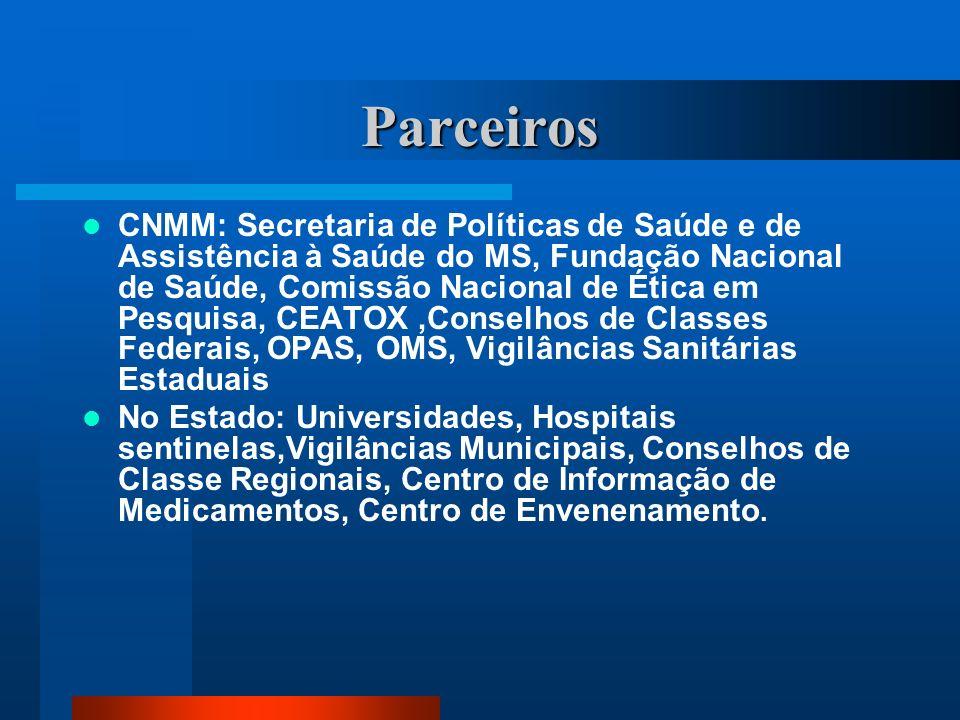Parceiros CNMM: Secretaria de Políticas de Saúde e de Assistência à Saúde do MS, Fundação Nacional de Saúde, Comissão Nacional de Ética em Pesquisa, C