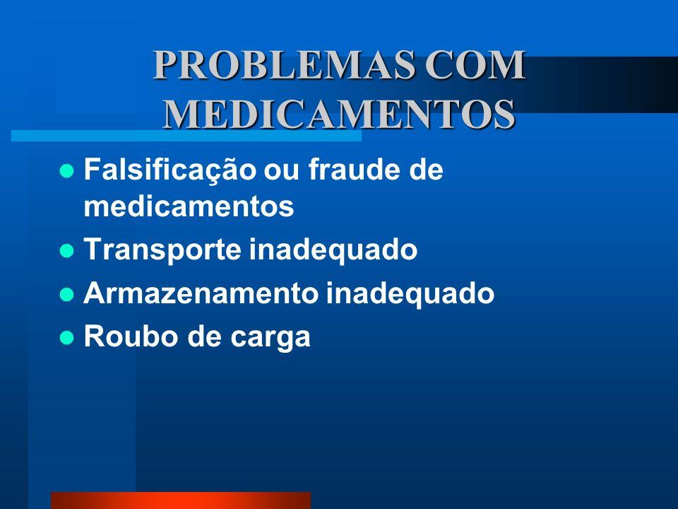 PROBLEMAS COM MEDICAMENTOS Falsificação ou fraude de medicamentos Transporte inadequado Armazenamento inadequado Roubo de carga