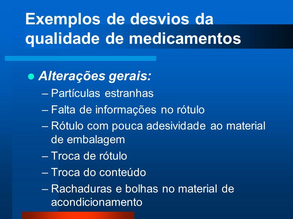 Exemplos de desvios da qualidade de medicamentos Alterações gerais: –Partículas estranhas –Falta de informações no rótulo –Rótulo com pouca adesividad