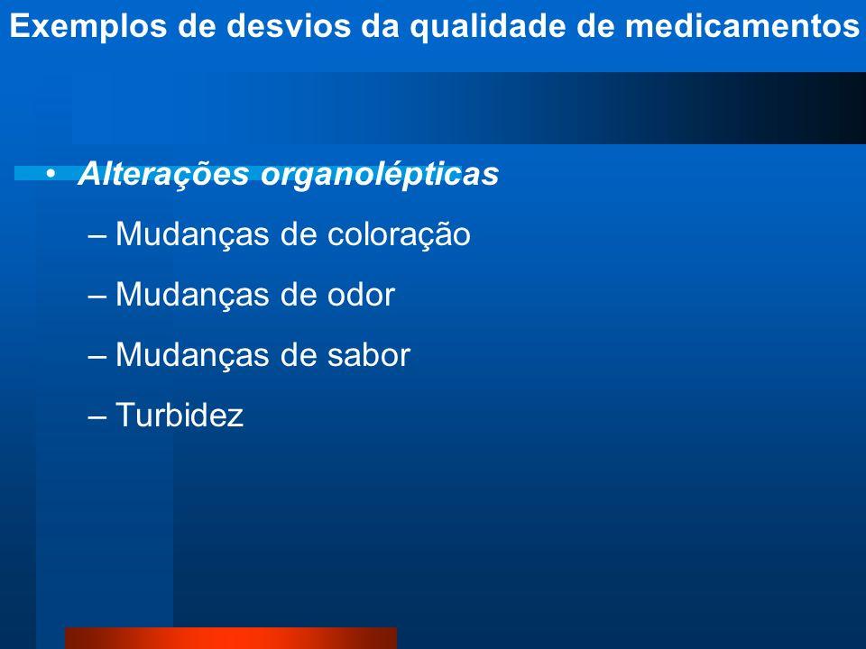 Alterações organolépticas –Mudanças de coloração –Mudanças de odor –Mudanças de sabor –Turbidez Exemplos de desvios da qualidade de medicamentos