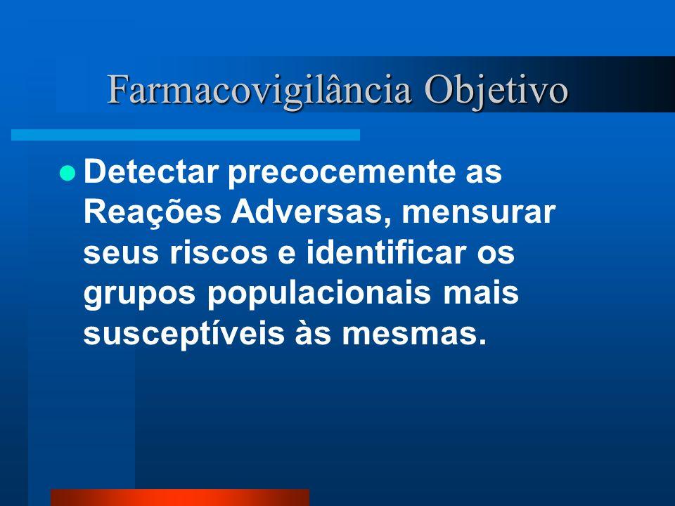 CONCEITOS FARMACOVIGILÂNCIA: é a ciência relativa a detecção, avaliação, compreensão e prevenção dos efeitos adversos ou quaisquer problemas relacionados a medicamentos (WHO, 2002)