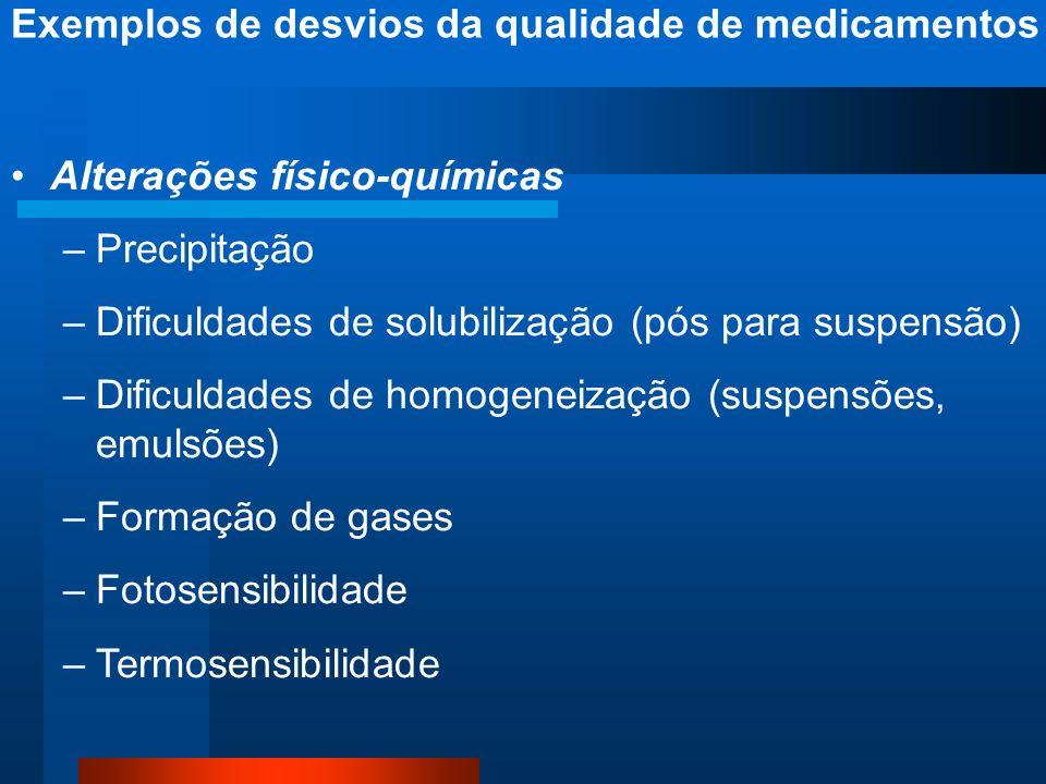 Alterações físico-químicas –Precipitação –Dificuldades de solubilização (pós para suspensão) –Dificuldades de homogeneização (suspensões, emulsões) –F