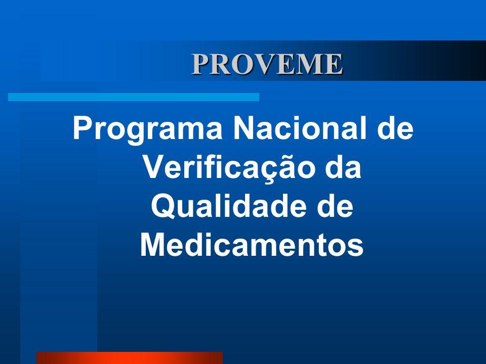 PROVEME Programa Nacional de Verificação da Qualidade de Medicamentos