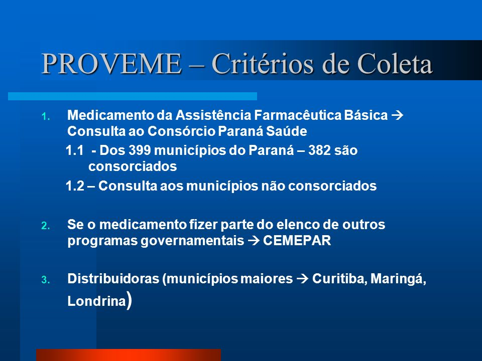PROVEME – Critérios de Coleta 1. Medicamento da Assistência Farmacêutica Básica Consulta ao Consórcio Paraná Saúde 1.1 - Dos 399 municípios do Paraná