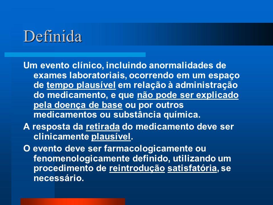 Definida Um evento clínico, incluindo anormalidades de exames laboratoriais, ocorrendo em um espaço de tempo plausível em relação à administração do m