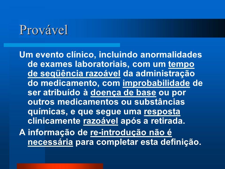 Provável Um evento clínico, incluindo anormalidades de exames laboratoriais, com um tempo de seqüência razoável da administração do medicamento, com i