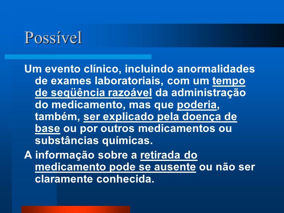 Possível Um evento clínico, incluindo anormalidades de exames laboratoriais, com um tempo de seqüência razoável da administração do medicamento, mas q