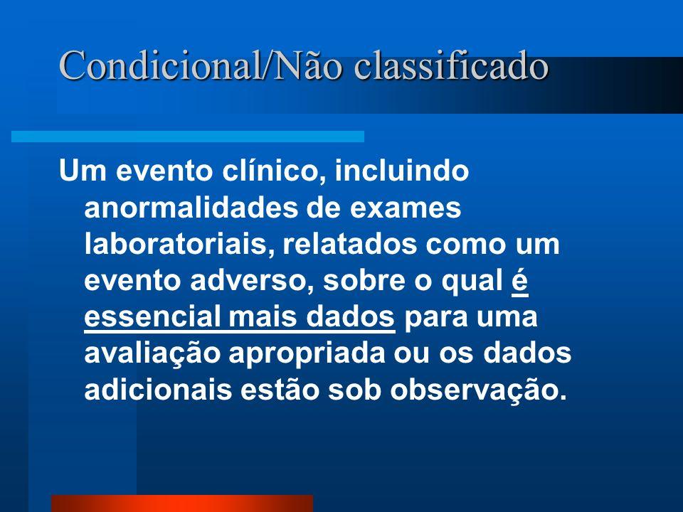 Condicional/Não classificado Um evento clínico, incluindo anormalidades de exames laboratoriais, relatados como um evento adverso, sobre o qual é esse