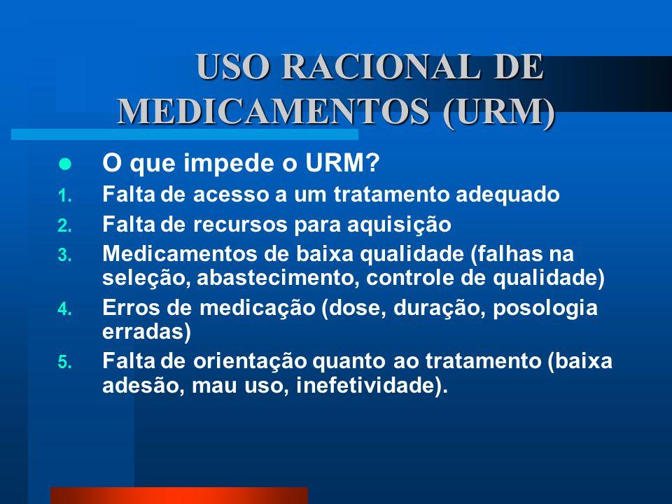 USO RACIONAL DE MEDICAMENTOS (URM) O que impede o URM? 1. Falta de acesso a um tratamento adequado 2. Falta de recursos para aquisição 3. Medicamentos