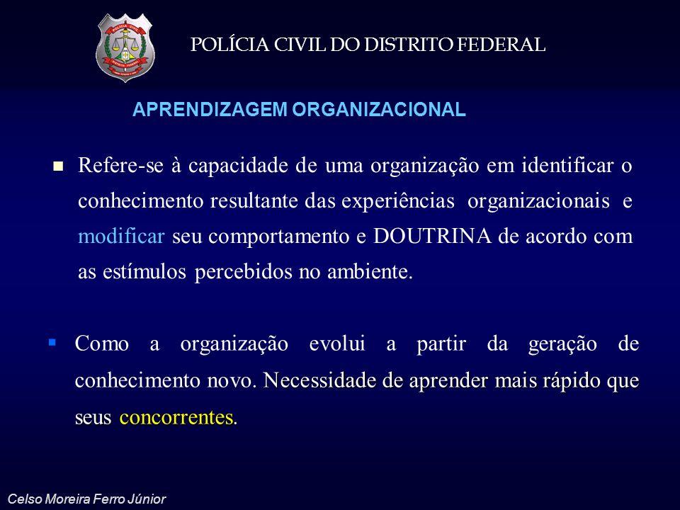 POLÍCIA CIVIL DO DISTRITO FEDERAL Celso Moreira Ferro Júnior APRENDIZAGEM ORGANIZACIONAL Refere-se à capacidade de uma organização em identificar o co