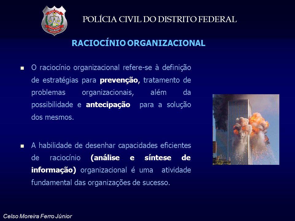 POLÍCIA CIVIL DO DISTRITO FEDERAL Celso Moreira Ferro Júnior RACIOCÍNIO ORGANIZACIONAL Refere-se à capacidade de previsão pela prospecção de informações e o tratamento de problemas organizacionais, além da solução dos mesmos.