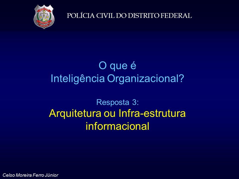 POLÍCIA CIVIL DO DISTRITO FEDERAL Celso Moreira Ferro Júnior O que é Inteligência Organizacional? Resposta 3: Arquitetura ou Infra-estrutura informaci