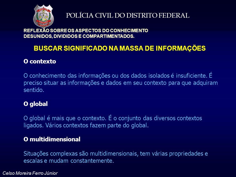 POLÍCIA CIVIL DO DISTRITO FEDERAL Celso Moreira Ferro Júnior REFLEXÃO SOBRE OS ASPECTOS DO CONHECIMENTO DESUNIDOS, DIVIDIDOS E COMPARTIMENTADOS. BUSCA