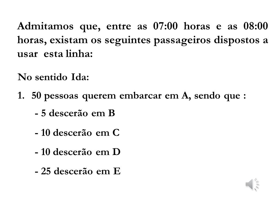 Suponha um itinerário, que tenha: 1. ponto inicial – A 2. paradas intermediárias - B, C e D 3. ponto final - E Como Estudar e Representar a Demanda de