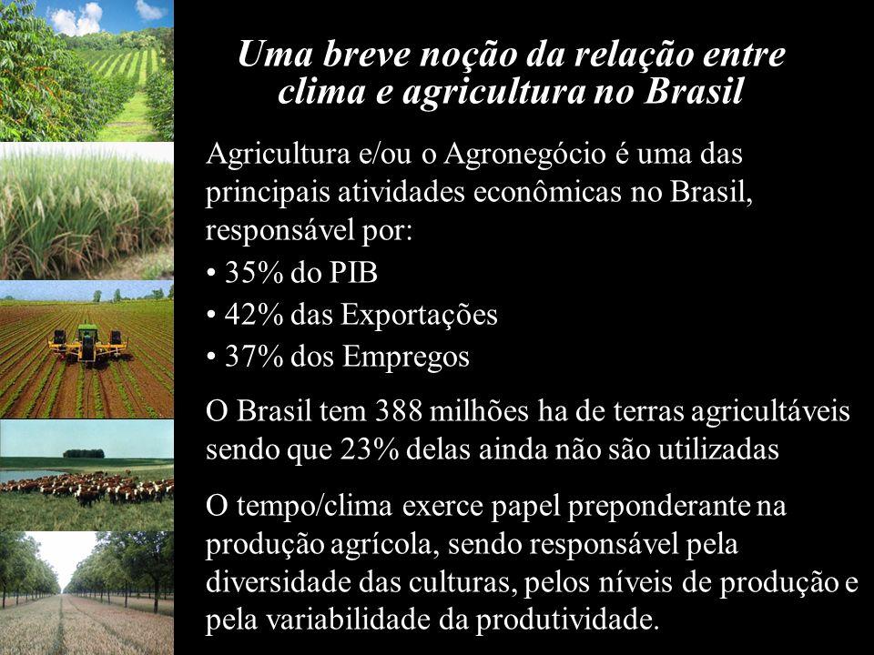 Agricultura e/ou o Agronegócio é uma das principais atividades econômicas no Brasil, responsável por: 35% do PIB 42% das Exportações 37% dos Empregos