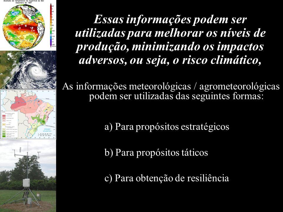 Essas informações podem ser utilizadas para melhorar os níveis de produção, minimizando os impactos adversos, ou seja, o risco climático, As informaçõ