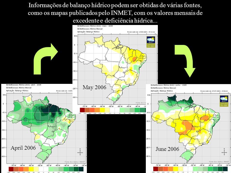 Informações de balanço hídrico podem ser obtidas de várias fontes, como os mapas publicados pelo INMET, com os valores mensais de excedente e deficiên
