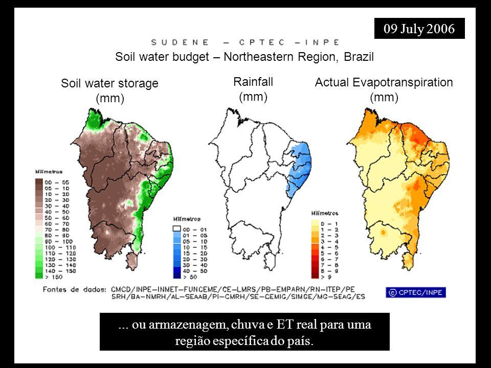 Soil water storage (mm) Rainfall (mm) Actual Evapotranspiration (mm) Soil water budget – Northeastern Region, Brazil... ou armazenagem, chuva e ET rea
