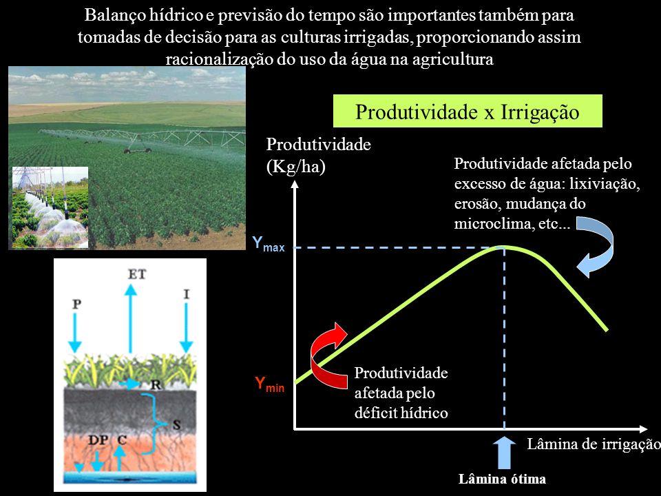 Balanço hídrico e previsão do tempo são importantes também para tomadas de decisão para as culturas irrigadas, proporcionando assim racionalização do
