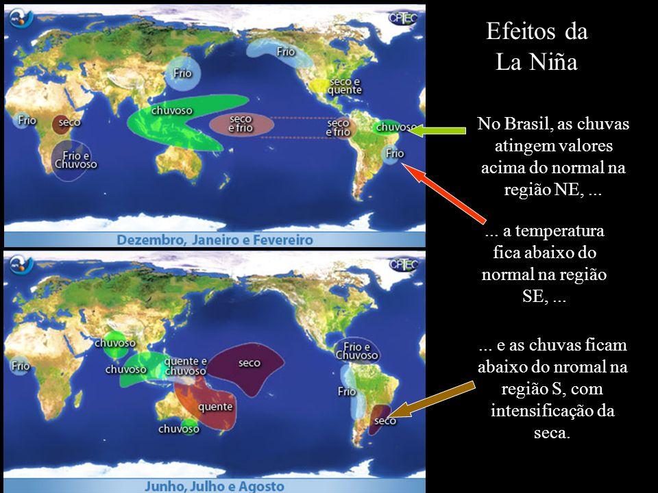 Efeitos da La Niña No Brasil, as chuvas atingem valores acima do normal na região NE,...... a temperatura fica abaixo do normal na região SE,...... e