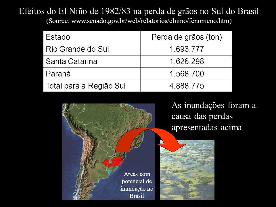EstadoPerda de grãos (ton) Rio Grande do Sul1.693.777 Santa Catarina1.626.298 Paraná1.568.700 Total para a Região Sul4.888.775 Efeitos do El Niño de 1