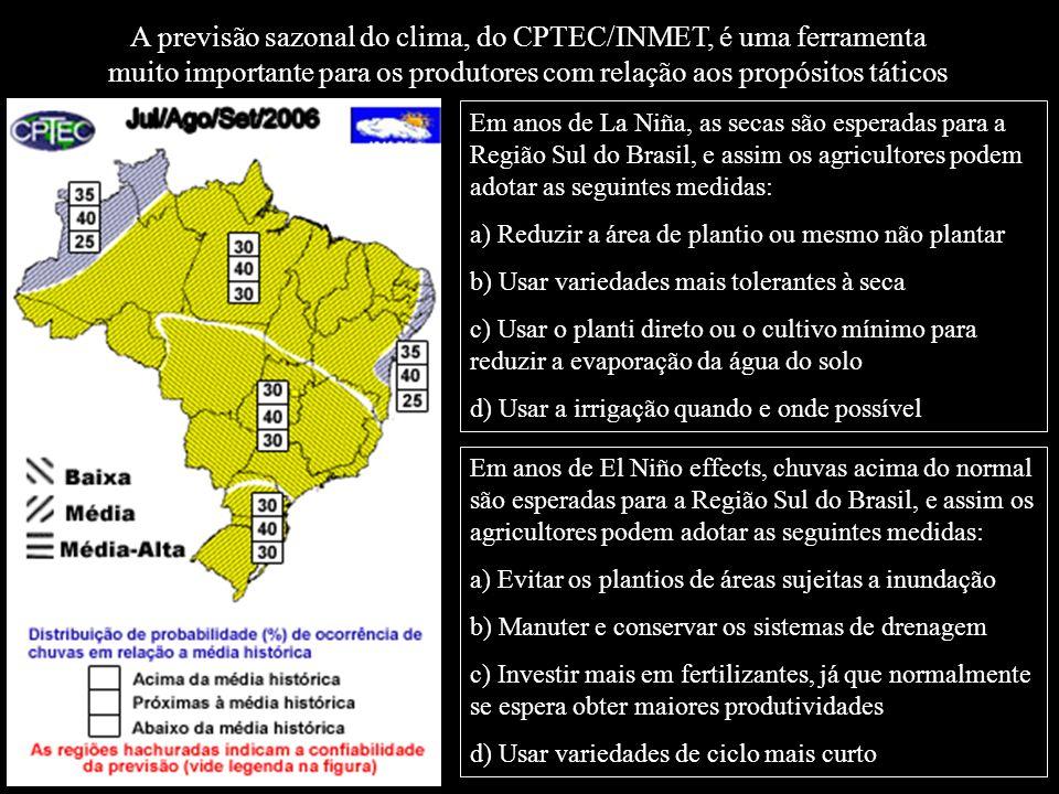 A previsão sazonal do clima, do CPTEC/INMET, é uma ferramenta muito importante para os produtores com relação aos propósitos táticos Em anos de La Niñ