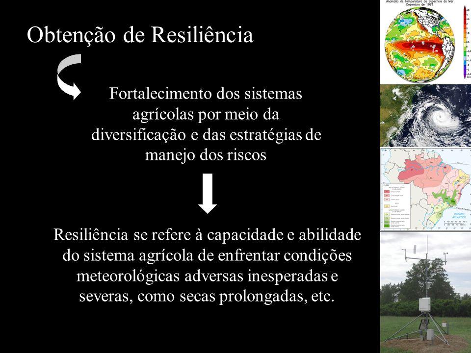 Obtenção de Resiliência Fortalecimento dos sistemas agrícolas por meio da diversificação e das estratégias de manejo dos riscos Resiliência se refere