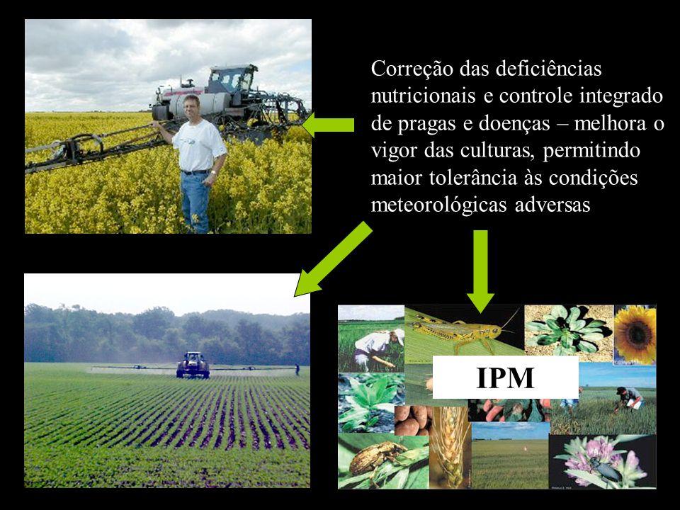 Correção das deficiências nutricionais e controle integrado de pragas e doenças – melhora o vigor das culturas, permitindo maior tolerância às condiçõ