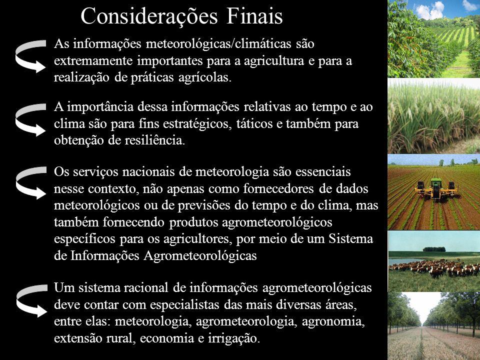 Considerações Finais As informações meteorológicas/climáticas são extremamente importantes para a agricultura e para a realização de práticas agrícola