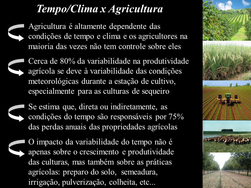 Tempo/Clima x Agricultura Agricultura é altamente dependente das condições de tempo e clima e os agricultores na maioria das vezes não tem controle so