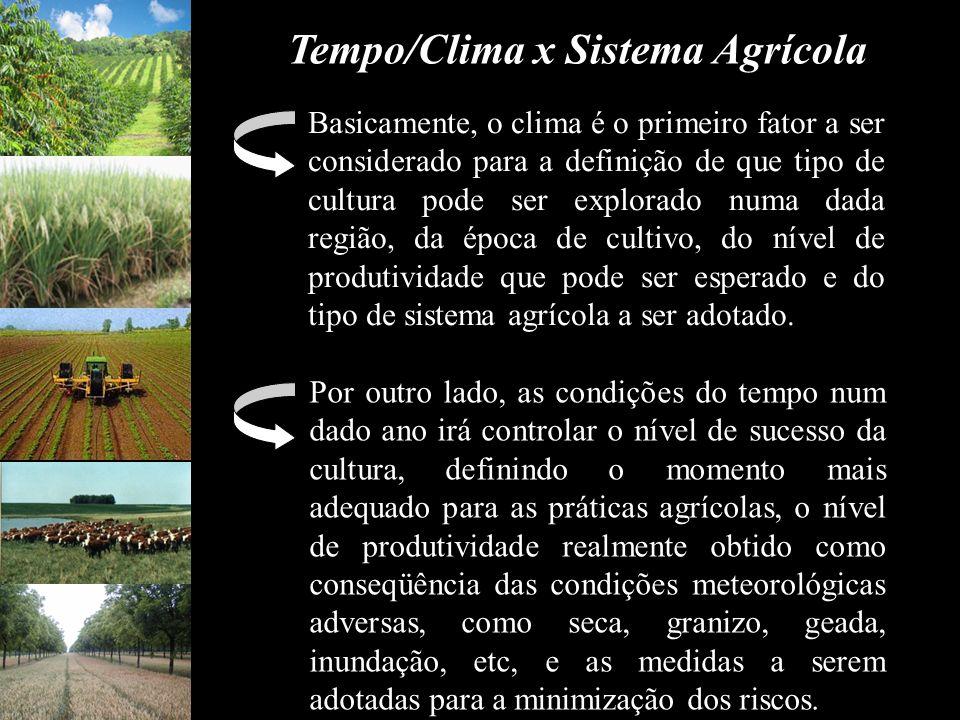 Tempo/Clima x Sistema Agrícola Basicamente, o clima é o primeiro fator a ser considerado para a definição de que tipo de cultura pode ser explorado nu