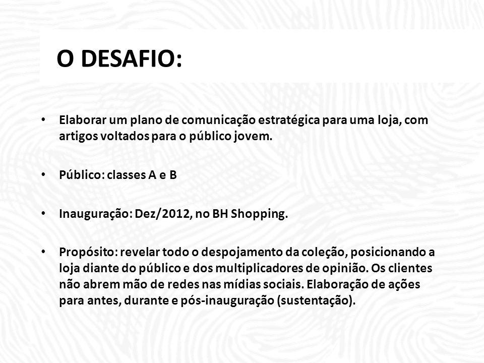 O DESAFIO: Elaborar um plano de comunicação estratégica para uma loja, com artigos voltados para o público jovem. Público: classes A e B Inauguração: