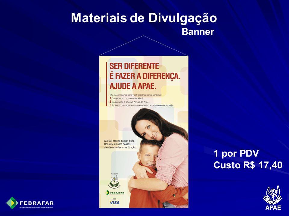 Materiais de Divulgação Banner 1 por PDV Custo R$ 17,40