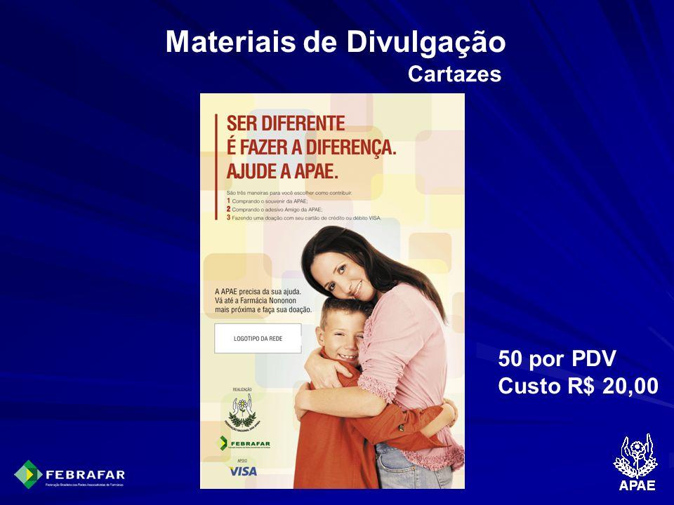 Materiais de Divulgação Cartazes 50 por PDV Custo R$ 20,00