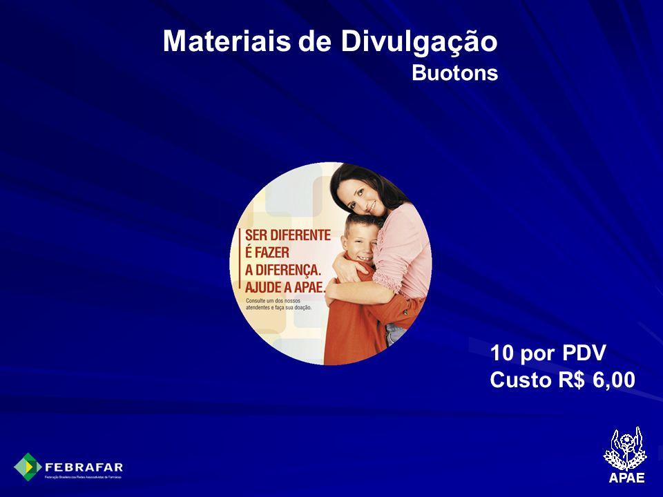 Materiais de Divulgação Buotons 10 por PDV Custo R$ 6,00