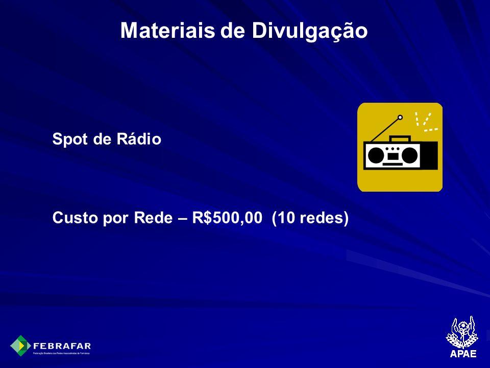 Materiais de Divulgação Spot de Rádio Custo por Rede – R$500,00 (10 redes)