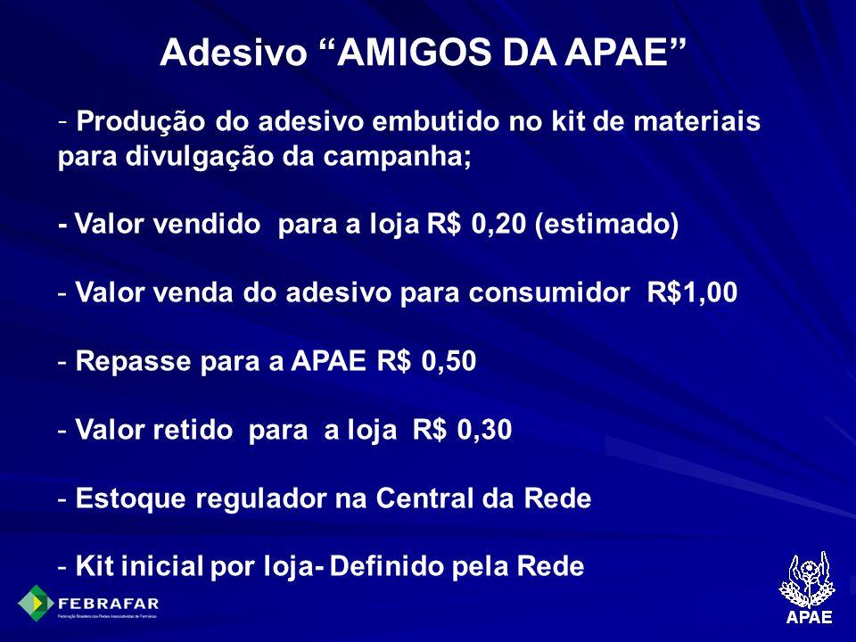 Adesivo AMIGOS DA APAE - Produção do adesivo embutido no kit de materiais para divulgação da campanha; - Valor vendido para a loja R$ 0,20 (estimado)