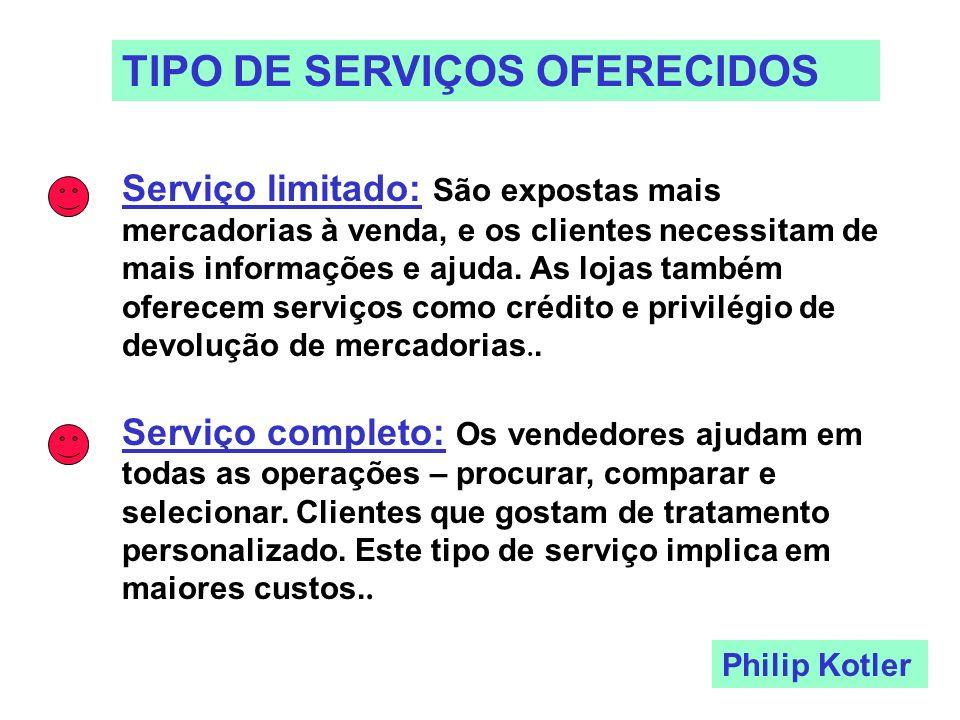 TIPO DE SERVIÇOS OFERECIDOS Serviço limitado: São expostas mais mercadorias à venda, e os clientes necessitam de mais informações e ajuda. As lojas ta