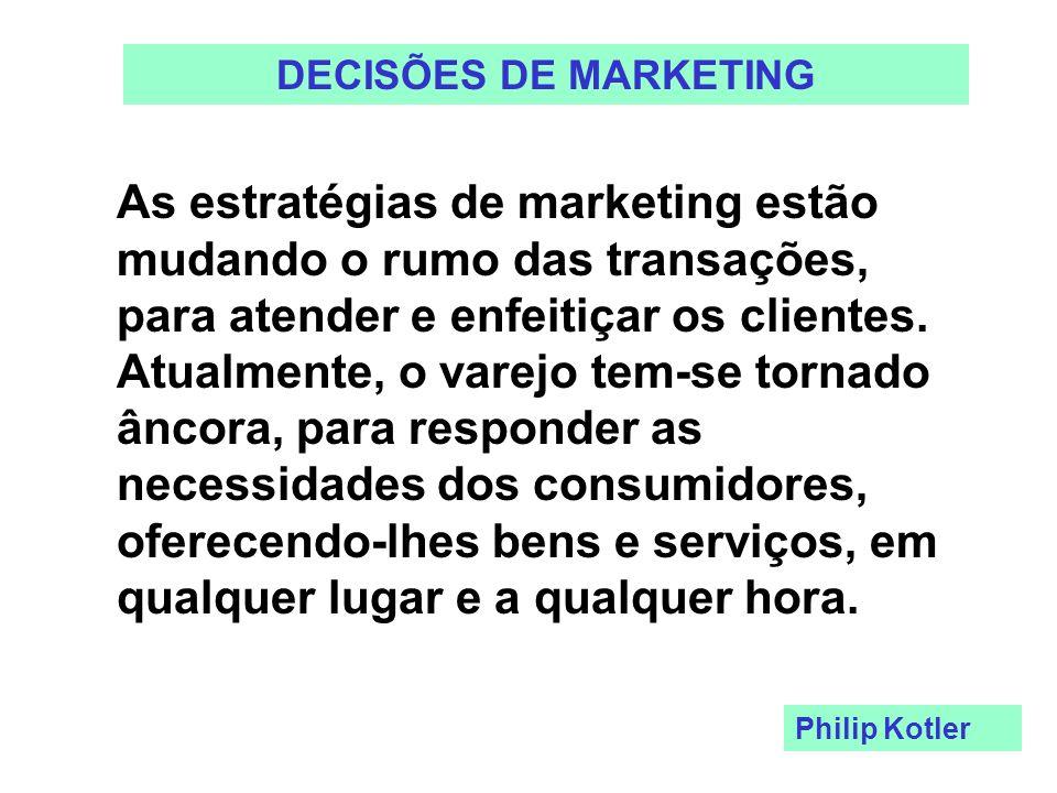 DECISÕES DE MARKETING As estratégias de marketing estão mudando o rumo das transações, para atender e enfeitiçar os clientes. Atualmente, o varejo tem