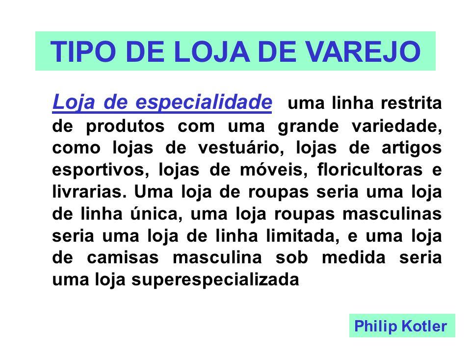 TIPO DE LOJA DE VAREJO Loja de especialidade - uma linha restrita de produtos com uma grande variedade, como lojas de vestuário, lojas de artigos espo