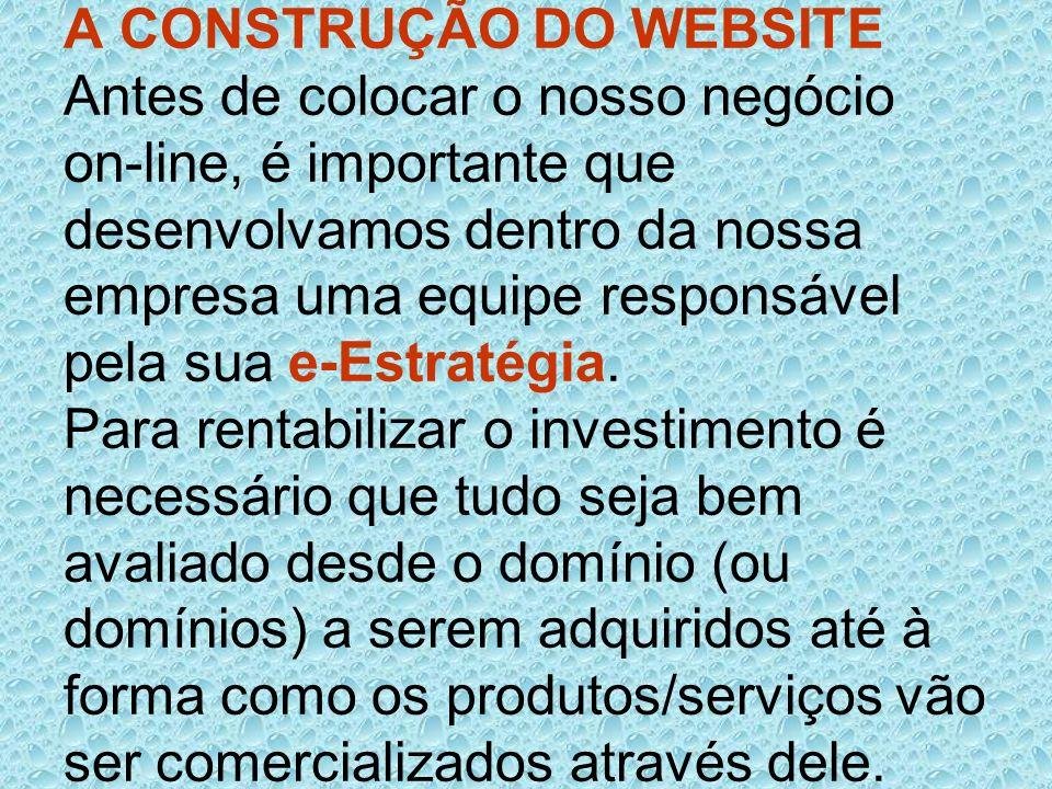 A CONSTRUÇÃO DO WEBSITE Antes de colocar o nosso negócio on-line, é importante que desenvolvamos dentro da nossa empresa uma equipe responsável pela s