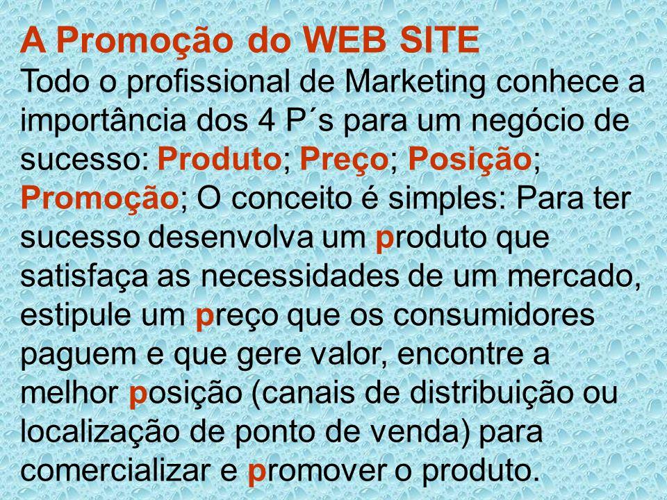 A Promoção do WEB SITE Todo o profissional de Marketing conhece a importância dos 4 P´s para um negócio de sucesso: Produto; Preço; Posição; Promoção;