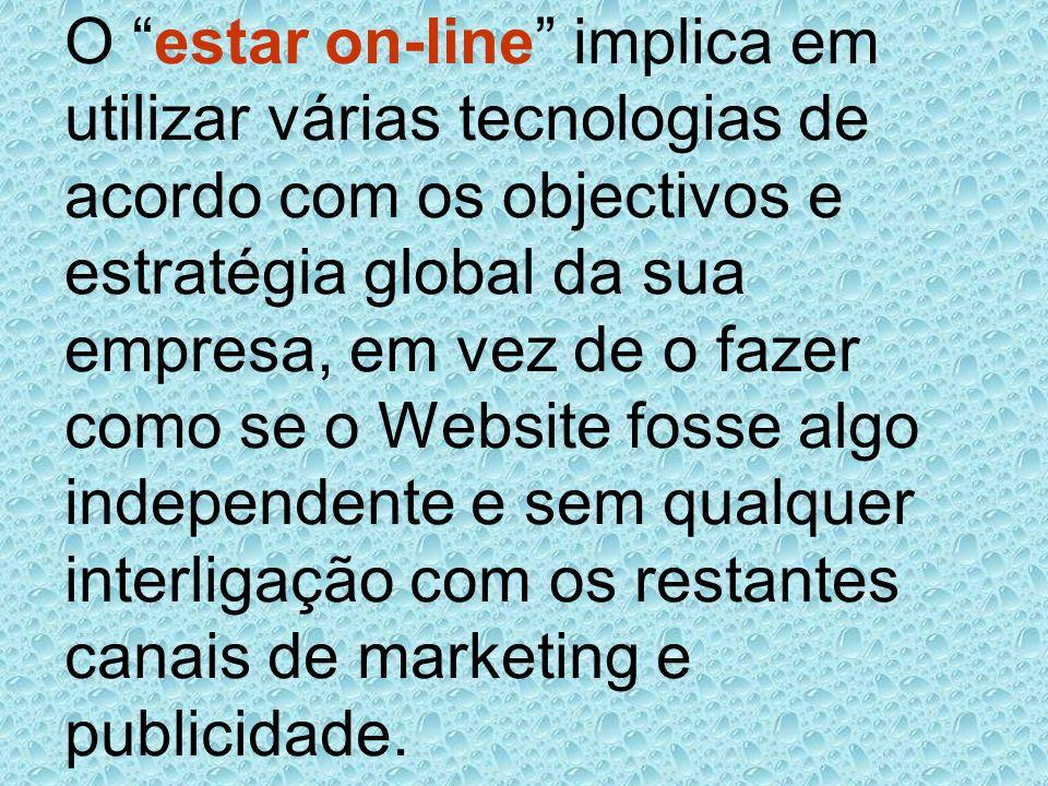O estar on-line implica em utilizar várias tecnologias de acordo com os objectivos e estratégia global da sua empresa, em vez de o fazer como se o Web